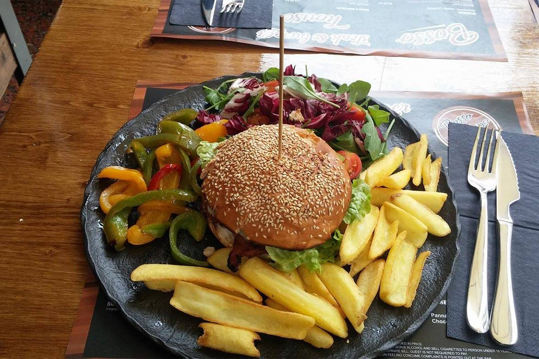 dinner at american burger restaurant split stag croatia 2
